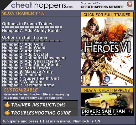 Might & Magic Heroes VI crack + trainer.